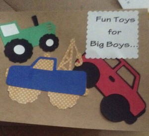 Fun Toys for Big Boys card with a green t