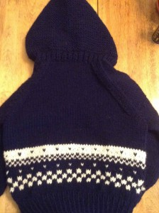 Navy Wonderful Wallaby sweater with white patterning on lower part of sweater